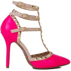 T-Strap Studded Neon Pink Patent Heels ($30) ❤ liked on Polyvore featuring shoes, pumps, heels, neon pink patent, high heel court shoes, patent leather pumps, high heeled footwear, studded pumps and patent pointed toe pumps