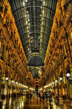 Galleria Vittorio Emanuele II  in Milan Italy is one of the world's oldest shopping malls, having been built between 1865 and 1877.  by mbell1975