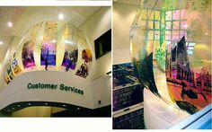 'Carousel' Gosforth Library, Newcastle upon Tyne. Colour changing printed polycarbonate,  by artist Laura Johnston