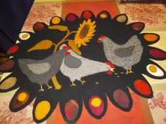 Free Wool Penny Rug Patterns | Wool Chicken Penny Rug Sunflower & Chickens Kit Wild Hare Fiber