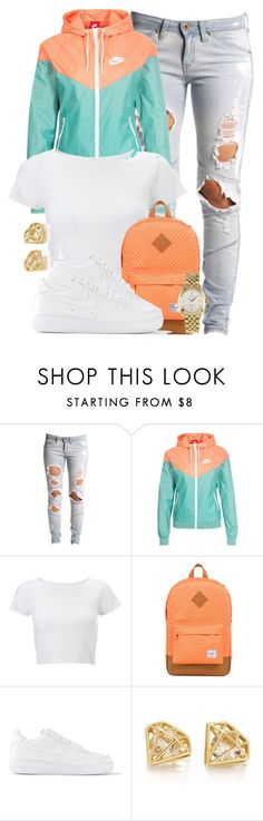 """Nike Sportswear Windrunner Jacket."" by cheerstostyle ❤ liked on Polyvore featuring Lee, NIKE, Lipsy, Herschel Supply Co., Rolex, women's clothing, women, female, woman and misses"