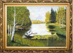 """""""Krajobraz z czaplami"""" obraz olejny na płotnie 70x 50 cm"""