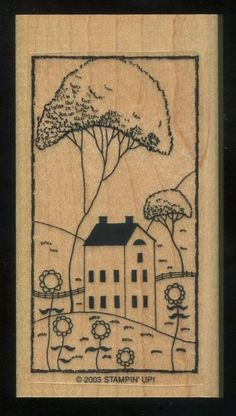 Stampin Up Country Pleasures House Sunflowers Summer Trees  WM Rubber Stamp #StampinUp