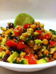 Okay girls.....here it is.....one of our Summer Pool Lunch options:  High Protein Vegan Fiesta Salad