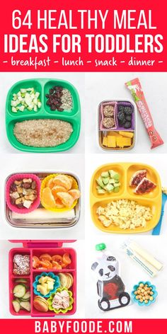 These 64 Toddler Meal Ideas are healthy, simple to make and can be customized to fit any toddler's preferences. This inspirational guide includes balanced and wholesome breakfast, snacks, lunch and dinner meal ideas. #toddlerrecipes #toddlerbreakfast #toddlerdinner #toddlersnacks #lunchbox Healthy Toddler Lunches, Picky Toddler Meals, Kids Meals, Easy Meals, Toddler Food, Breakfast Snacks, Lunch Snacks, Baby Food Recipes, Healthy Recipes