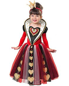 Toddler Queen of Hearts Costume - Spirithalloween.com  sc 1 st  Pinterest & Child Kids Girls Queen Of Hearts Alice Outfit Fancy Dress Costume ...