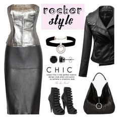 """Classic Rocker Chic"" by theseapearl ❤ liked on Polyvore featuring Bling Jewelry, By Malene Birger, Ted Lapidus, Halston Heritage, Kenneth Jay Lane, BERRICLE and Gucci"