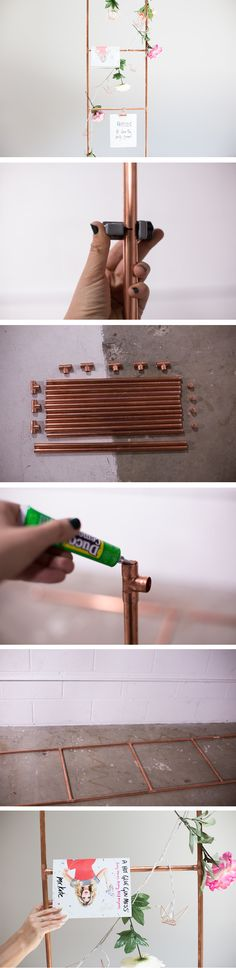 DIY Copper Pipe Magazine Ladder | It's easy to create this cute and functional home decor from a few pipes and glue!
