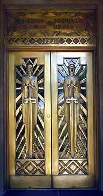 Art Deco doors on the Cochise County Courthouse~Bisbee, Arizona circa 1931