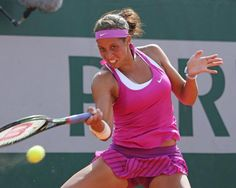 American Madison Keys hits a shot during her French Open women's second round match against Belinda Bencic of Switzerland at Roland Garros in Paris on May 28, 2015. Keys defeated Bencic 6-0, 6-3 to advance to the next round. Photo by David Silpa/UPI