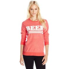 Chaser Women's Beer Crew Neck Long Sleeve Graphic Sweatshirt ($68) ❤ liked on Polyvore featuring tops, hoodies, sweatshirts, red sweat shirt, red crew neck sweatshirt, chaser sweatshirt, crew neck sweat shirt e sweatshirt hoodies