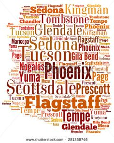 Word Cloud in the shape of Arizona showing some of the cities in the state - stock photo