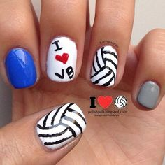 Volleyball nail ideas. You can put your school colors on your pointer and pinkie fingers