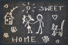 Fußmatte Sweet Home    Wer freut sich schon nicht auf das nach Hause kommen, wenn ein so eine schöne Fußmatte begrüßt?  Und das aller Beste ist natürlich, dass sie auch noch waschmaschinen- und trocknerfähig ist.