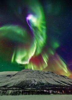 Angels intertwined. Aurora in Kitdalen, Norway