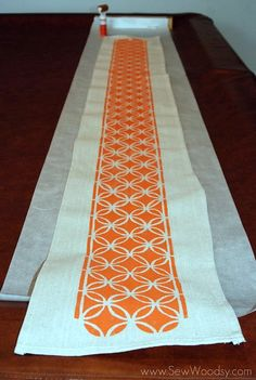 Stenciled dropcloth table runner