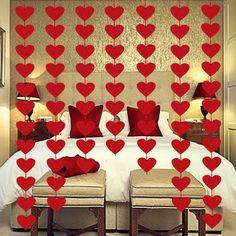 Diy Valentine's Day Decorations, Anniversary Decorations, Valentines Day Decorations, Valentines Diy, Birthday Decorations, Hanging Garland, Felt Garland, Diy Garland, Valentine's Day Diy