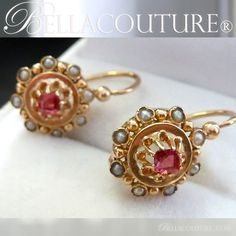 BELLA COUTURE ® - (ANTIQUE) Rare EXQUISITE French Georgian Victorian 18K 18Ct Solid Yellow Gold Cushion Cut Ruby