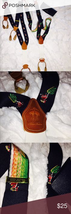 Brooks Brothers set of Xmas suspenders - choose 1! Brooks Brothers - Brooks Brothers Whimsical Santa Navy Christmas Leather Tab Braces Suspenders - 2 pairs available let me know which!!! adjustable - NWOT Brooks Brothers Accessories