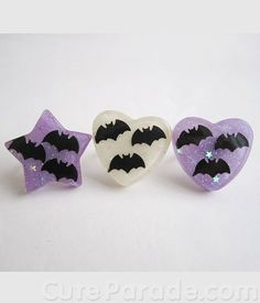 Cute pastel goth bat rings