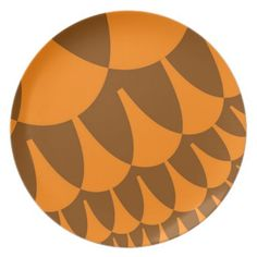 Thanksgiving Turkey Scales Plate - Created by WonderArt of Mount Airy, North Carolina! Check out matching products @ www.zazzle.com/wonderart+thanksgiving+gifts?rf=238155573613991097&tc=pnt #thanksgivingplates #holidaydishes #orangeplates