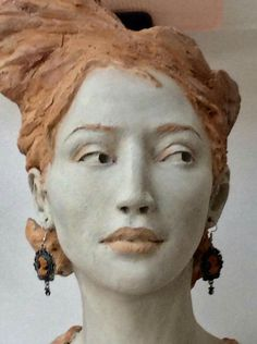 Sculpture Head, Abstract Sculpture, Ceramic Sculpture Figurative, Ceramic Sculptures, Anatomy Sculpture, Face Anatomy, Clay Faces, Wild Girl, Female Head