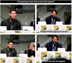 Supernatural San Diego Comic Con 2013 - haha. Lol love how Jensen is protective over the impala in real life.