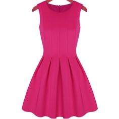 Sleeveless Pleated Flare Rose Red Dress (115 EGP) ❤ liked on Polyvore featuring dresses, vestidos, pink, red, a line dress, flare dress, party dresses, pink party dress and pink a line dress