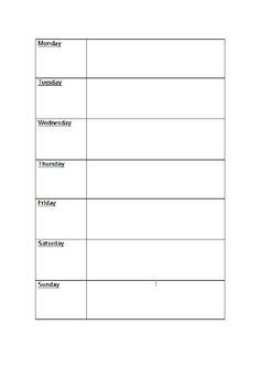 Weekly menu planner template :)