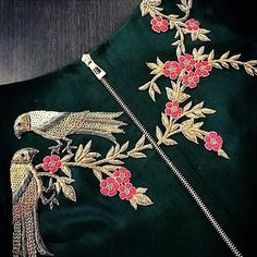Best Trendy Outfits Part 2 Embroidery Suits Design, Bird Embroidery, Hand Embroidery Designs, Embroidery Dress, Beaded Embroidery, Embroidery Patterns, Couture Embroidery, Embroidery Fashion, Embroidered Blouse