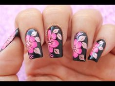 Flowers design nails nailart 23 Ideas for 2019 Flower Nail Designs, Flower Nail Art, Nail Art Designs, Acrylic Nail Shapes, Acrylic Nails, Easy Nail Art, Cool Nail Art, Gorgeous Nails, Pretty Nails