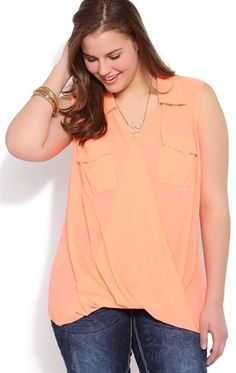 Plus Size Twist Front Tank with Pleated Back