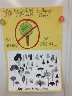 can't find the original pinner of this but i love all the different ideas to draw a tree. 50 ways to draw a tree kids art class
