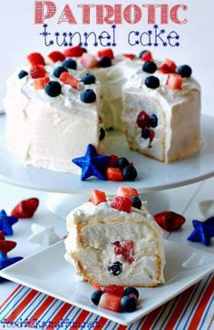Quick Easy Patriotic Tunnel Cake Red, White, and Blue Roundup Blue Desserts, Patriotic Desserts, 4th Of July Desserts, Fourth Of July Food, Mini Desserts, Just Desserts, July 4th, Patriotic Recipe, Patriotic Party