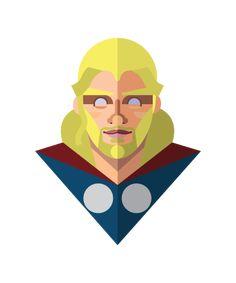 ツ by iSantano - Thor Flat Design Amazing Flat Design of Superheroes by Jeffrey Rau