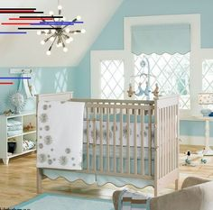 Ocean themes are also one of the most popular baby nursery themes around so you should have no problems finding matching bedding and… Baby Boy Crib Bedding, Baby Boy Cribs, Baby Boy Rooms, Baby Nursery Themes, Baby Girl Nursery Decor, Baby Room Decor, Nursery Ideas, Room Ideas, Babies Nursery