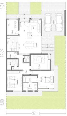 plano de casa de un piso moderna