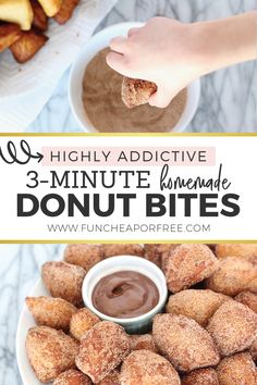 A Quick and Easy Donut Hole Recipe! - Fun Cheap Or Free - Recipes - Homemade Donut Bites: Cheap, easy, fun and highly addictive. Make them for breakfast or snacks or de - Starbucks Recipes, Donut Recipes, Ramen Recipes, Chicken Recipes, Turkey Recipes, Keto Recipes, Pizza Recipes, Lasagna Recipes, Cod Recipes