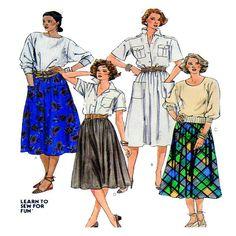 McCalls 2004 women skirt pattern full skirt gathered waist