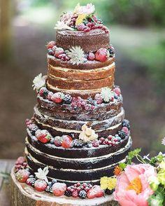 Rustic Wedding Cakes---chocolate wedding cake with fruits - Berry Wedding Cake, Wedding Cake Flavors, Wedding Cake Rustic, Woodland Wedding, Wedding Decor, Wedding Ideas, Wedding Ceremony, Forest Wedding, Naked Wedding Cake With Fruit
