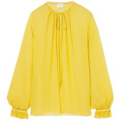Giambattista Valli Gathered silk-georgette blouse found on Polyvore featuring tops, blouses, yellow, loose fitting blouses, sheer top, sheer blouse, rouched top and transparent top