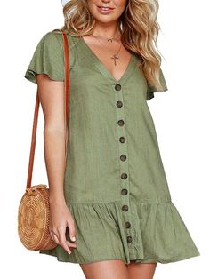 Casual VNeck Solid Mini Dress Women Summer Short Sleeve Sundress Boho Button Midi Red Beach Dresses Ladies Party Vestidos Size S Color Red Beach Dresses, Summer Dresses For Women, Sexy Dresses, Short Sleeve Dresses, Beautiful Casual Dresses, Preppy Dresses, Green Shift Dress, Lace Homecoming Dresses, Short Mini Dress