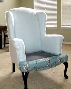 Modest Maven: Vintage Blossom Wingback Chair Reupholstery tips Furniture Fix, Reupholster Furniture, Upholstered Furniture, Furniture Projects, Furniture Makeover, Chair Makeover, Wing Chair, Wingback Chair, Recover A Chair
