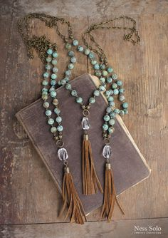 Turquoise necklace Long turquoise tassel necklace African
