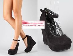 Dollhouse -BLACK  Round Toe Wedge