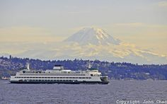 Ferrys carry cars and people to and from the many islands all around the Puget Sound.