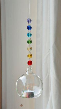 Suncatcher Glas Globus Kristall Blase Kerze Halter Terrarium Chakra Dekoration Meditation Yoga Reiki Entspannung leichte Catcher-Geschenkidee