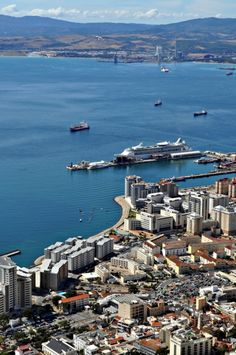 Gibraltar seen from above the rock! Look at the airplane! :O