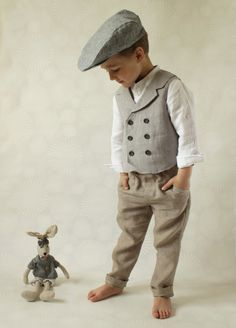 Ring bearer outfit Wedding party outfit Toddler boy vest and pants Boys linen suit Double breasted vest Photo prop Page boy suit - Kinderkleidung - Men Toddler Suits, Toddler Vest, Toddler Boys, Baby Boys, Kids Boys, Boys Linen Suit, Gilet Jeans, Boys Waistcoat, Double Breasted Vest