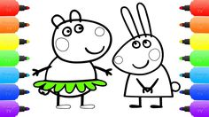 Peppa Pig Meet the Rabbit Family Coloring Pages for Kids | Drawing Peppa...